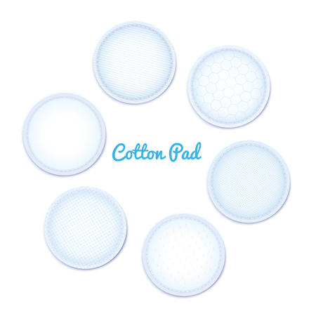 3d realistic soft hypoallergenic cotton pad for female hygiene. Round discs for facial cleansing, makeup removal, medical and cosmetic procedures. Isolated vector illustration on white background. Foto de archivo - 124419760