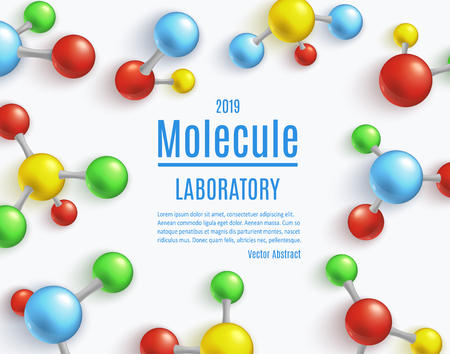 Vector abstract molecule laboratory poster. Colorful atoms molecular object for medical, chemical laboratories, biotechnologies and pharmaceutical related background design. Çizim
