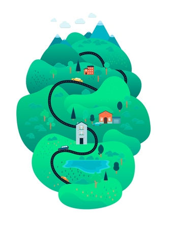 Vector rural landscape scenery icon with road path through green fileds with lakes, farm houses, forest trees and mountains. Map design construcion element. Spring, summer countryside.