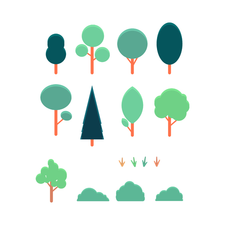 Vector abstract trees and bushes collection for landscape creation. Woods, forests, parks and gardens decoration design elements. Green nature objects for environment decor.