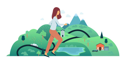 Vector woman running in fast pace smiling. Happy female cute sportsman working out on countryside landscape background. Active young character, healthy lifestyle.