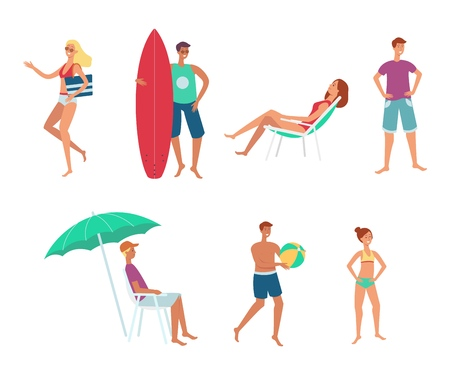 Vector people at summer sea vacation set. Woman lying under umbrella in lounger, people playing volleyball, man standing with surfboard, girl in sunglasses going to sunbath