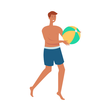 Vector cheerful topless man in shorts playing with inflatable ball in beach volleyball. Handsome guy at summer vacation. Happy male character enjoys hot weather. Isolated illustration Illustration