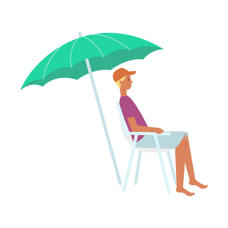Vector young man rescuer or sitting at lounger under sun umbrella at summer vacation on seashore resort. Male character in shorts, cap and tshirt at sea holiday. Isolated illustration