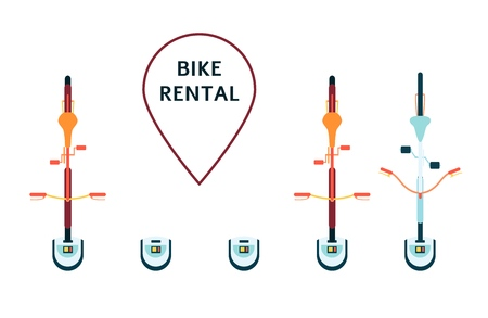 Vector bike rental concept with bicycles standing at parking top view with navigation pin. Healthy transportation method poster template. Bicycle rental for park rides. Isolated illustration