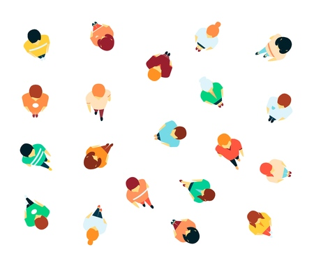 Vector people in crowd top view. Women, men standing, walking. Citizen, population gathered together. Male, female young and adult characters for infographics design. Isolated illustration  イラスト・ベクター素材