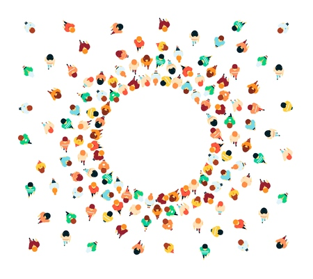 Vector people in crowd top view forming circle shape frame. Women, men standing. Citizen, population gathered together. Male, female young and adult characters for infographics design illustration