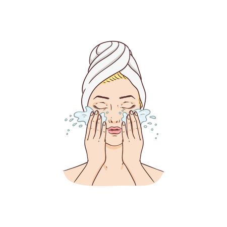 Vector junge Frau mit Tuch auf den Haaren, die das waschende Gesicht des Make-up entfernen. Gesichtspflege, kosmetische Reinigung, Verpackungsdesign für Spa-Produkte. Isolierte Abbildung Vektorgrafik