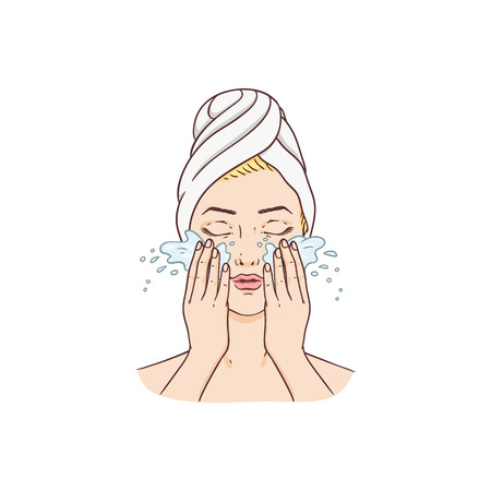 Vector young woman with towel on hairs removing make-up washing face. Face skincare treatment, cosmetic cleaning, spa products packaging design. Isolated illustration Vettoriali