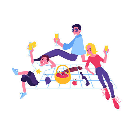 Vector cheerful man, women having picnic party outdoors together. Happy young guy, two girls drinking juice sitting in park. Smiling male, female characters having fun