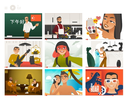 Vector illustration set of various people showing video through internet - tutorial and entertainment bloggers in flat gradient style. Video screens with vloggers on their vlog channels.