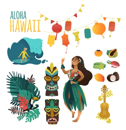 Hawaiian culture traditional symbols in flat cartoon vector illustration set - Aloha Hawaii collection of various elements for summer and tropical design isolated on white background.