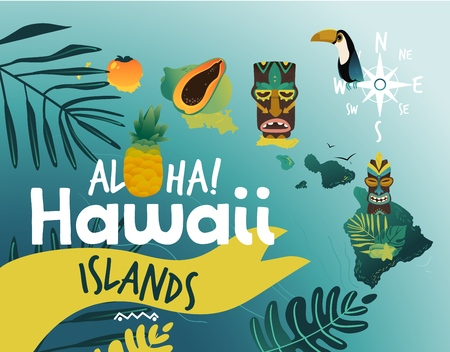 Aloha Hawaii - tropical poster design for summer beach party with famous Hawaiian symbols. Vector illustration of exotic travel destination, beautiful paradise islands