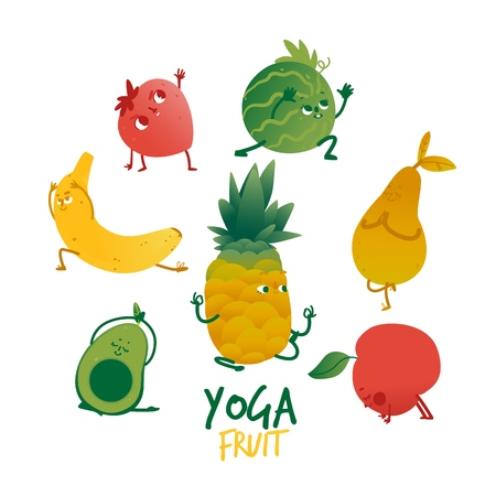 Vector cheerful fruits and berries practicing yoga, stretching and meditation set. Banana, strawberry, watermelon, pear and cherry working out. Healthy lifestyle, fitness and sport concept.