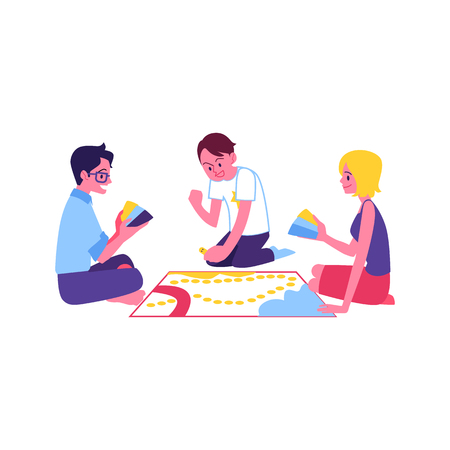 Vector cheerful teen friends playing board game together. Happy young men, woman sitting around having fun. Smiling guys and girl at weekend or holiday party.