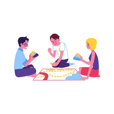 Wektor wesoły nastolatki przyjaciele razem gra planszowa. Szczęśliwi młodzi mężczyźni, kobieta siedzi wokół zabawy. Uśmiechnięci faceci i dziewczyna na imprezie weekendowej lub świątecznej. Ilustracje wektorowe
