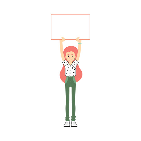 Vector young redhead woman holding blank placard with dissatisfied angry facial expression. Female character protest agains politics. Feminist on strike, fight for feminism concept