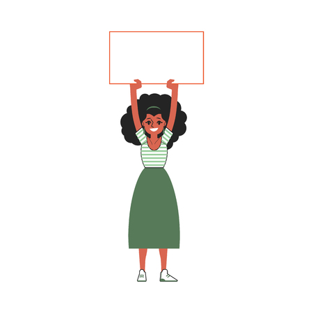 Vector young african black woman holding blank placard with happy facial expression. Female character protest in support. Feminist on strike, fight for feminism concept