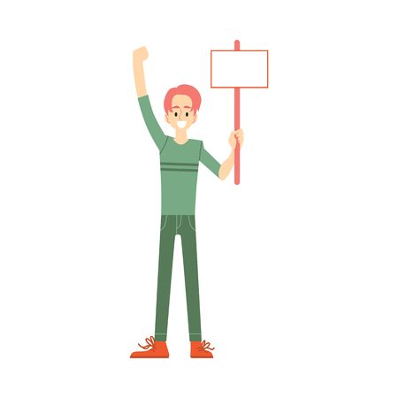 Vector smiling man holding blank placard above head with happy facial expression. Male character at demonstration, voting for policies. Cheerful character support, isolated illustration Illustration