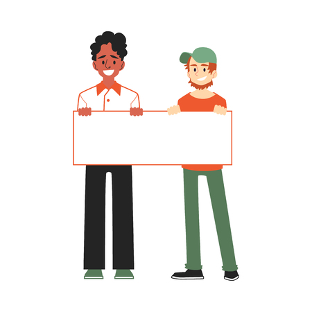 Vector smiling men holding blank placard above head with happy facial expression. Male character at demonstration, voting for policies. Cheerful character support, isolated illustration