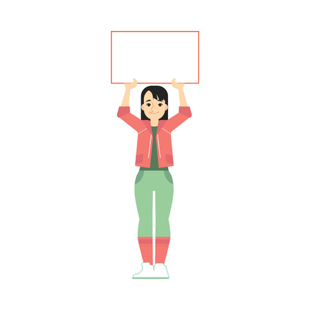 Vector young woman holding blank placard with happy facial expression. Female smiling character protest in support for politics. Feminist on strike, fight for feminism concept