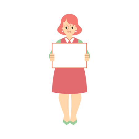 Vector adult middle-aged woman holding blank placard with happy facial expression. Female character in support for politics. Feminist on strike, fight for feminism concept Illustration