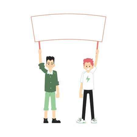 Vector smiling teen men holding blank placard above head with happy facial expression. Male character at demonstration, voting for policies. Cheerful character support, isolated illustration Illustration