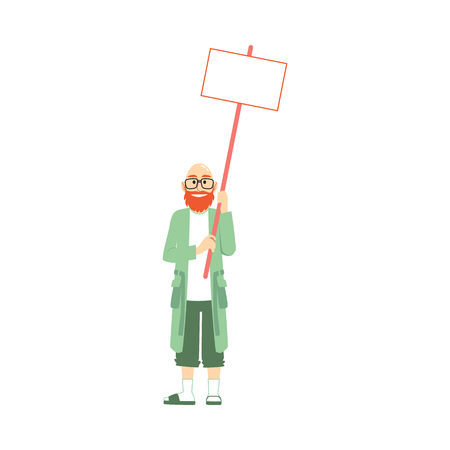 Vector happy old man holding blank placard with satisfied facial expression. Male character at demonstration in support of policies. Protesting character, isolated illustration