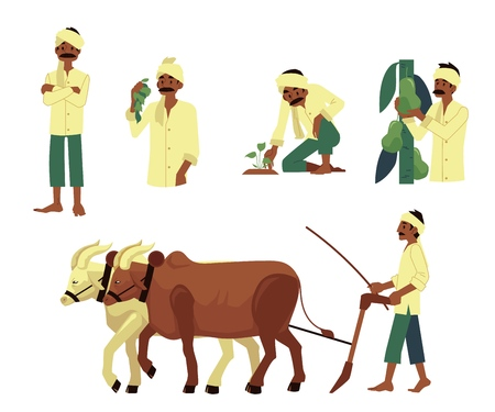 Vector cheerful indian farmer set. Barefood man plowing field by cows, harvest pears, planting seedling with traditional headscarf at head. Rural india, pakistan or bangladesh village characters Çizim
