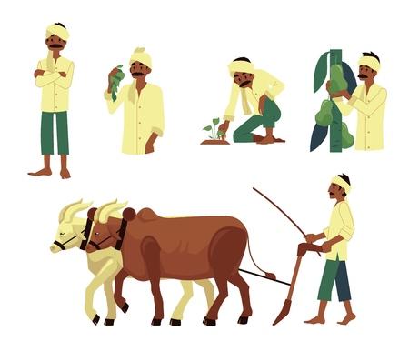 Vektor fröhlicher indischer Bauer-Satz. Barefood-Mann pflügt Feld von Kühen, erntet Birnen, pflanzt Sämling mit traditionellem Kopftuch am Kopf. Dorfcharaktere aus dem ländlichen Indien, Pakistan oder Bangladesch