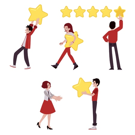 Vector happy men, women with big yellow stars expressing satisfiction set. Customer review, positive feedback concept. Satisfied man giving high rank for a business to girl. Ilustração