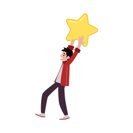 Vector happy man holding big yellow star above head. Customer review, positive feedback concept. Satisfied man giving high rank for a business in rating.