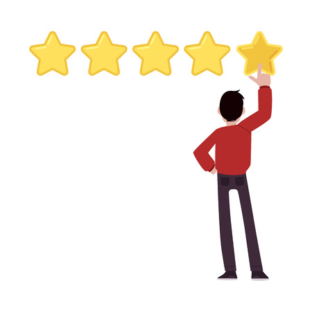 Vector happy man tapping big yellow star above head. Customer review, positive feedback concept. Satisfied man giving five stars top rank for a business in rating.