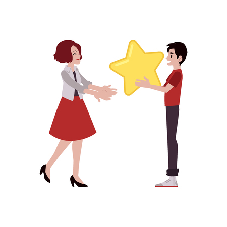 Vector happy man with big yellow star sharing it with young woman. Customer review, positive feedback concept. Satisfied man giving high rank for a business to girl.