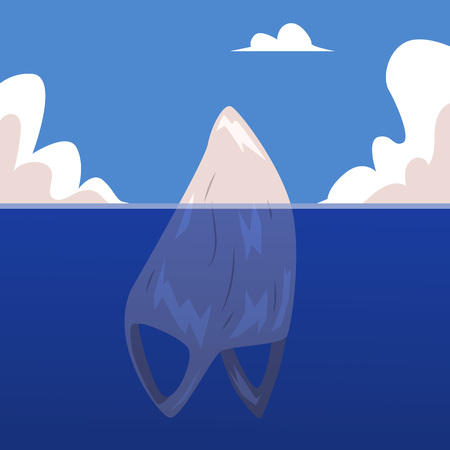 Vector plastic bag floating in ocean like iceberg. Water pollution, garbage in sea concept. Marine trash, danger to environment. Non-recyclable rubbish problem. Illustration