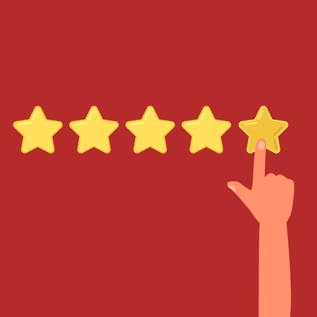 Human hand leaving a review of five stars cartoon style, vector illustration on red background. Finger pointing to the highest rating, concept of online business evaluating Illustration