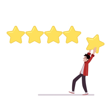 Man holds star above head going to leave rating of five stars cartoon style, vector illustration isolated on white background. The best review, concept of online business evaluating