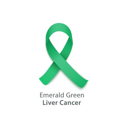 Vector emerald green ribbon liver cancer awareness symbol. Flat international health care campaign concept. liver cancer prevention support and hope. Uncurable immune disease treatment design.