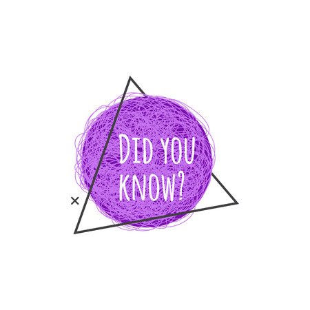 Did you know - promotional banner or cute purple question icon for website, marketing suggestion badge or faq quick tip or fun fact sticker. Isolated vector illustration on white background,
