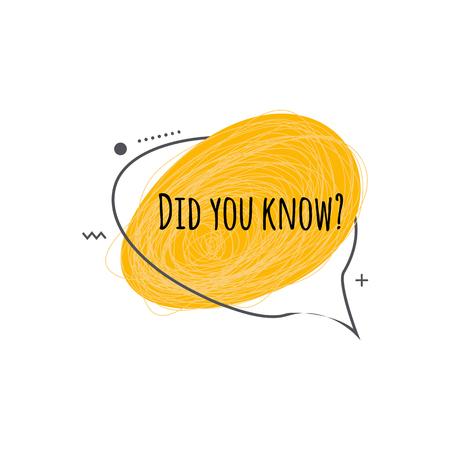 Sabía usted - ilustración de vector de icono plano aislado sobre fondo blanco. Insignia con pregunta de trivia para marketing o sugerencia de datos divertidos: forma geométrica ovalada amarilla con mensaje de texto.