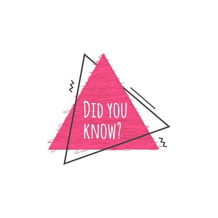 Did you know - cute pink badge with question, modern triangle geometric icon for quiz or fun fact trivia text, isolated vector illustration on white background. Illusztráció