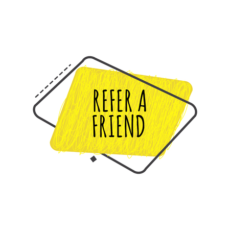 Refer a friend trendy geometric badge in flat or sketch style, vector illustration isolated on white background. Yellow advertisement sign of referral program from rounded trapezium shapes