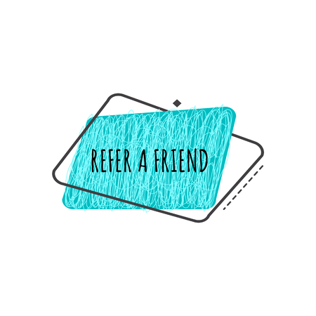 Refer a friend trendy geometric badge in flat or sketch style, vector illustration isolated on white background. Blue advertisement sign of referral program from rounded trapezium shapes