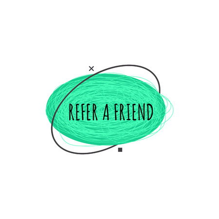 Invita un amico distintivo geometrico alla moda in stile piatto o schizzo, illustrazione vettoriale isolato su sfondo bianco. Cartello pubblicitario verde del programma di riferimento da forme ellittiche