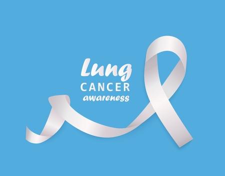 Banner con nastro riccio bianco chiaro o loop e testo in stile realistico, illustrazione vettoriale isolato su sfondo blu. Simbolo del mese di sensibilizzazione sul cancro del polmone e segno di solidarietà o sostegno Vettoriali