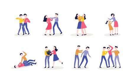 Vektorgewalt, Mobbing und körperliche Konflikte von jugendlichen Männern, Studentinnen, Charakteren, die Fäuste verwenden, um zu schlagen, sich gegenseitig die Haare ausreißen, die Person treten, während sie sich niederschlägt.