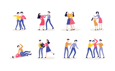Violencia vectorial, acoso y conflictos físicos de adolescentes varones, estudiantes femeninas, personajes que usan puños para golpear, se arrancan el cabello entre sí, patean a la persona mientras está abajo.