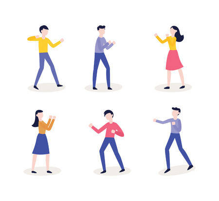 Vector flat female, male character ready to fight with fists in combat position. Angry women, men expressing violence and aggression. Pissed off people in conflict situation. Isolated illustration.