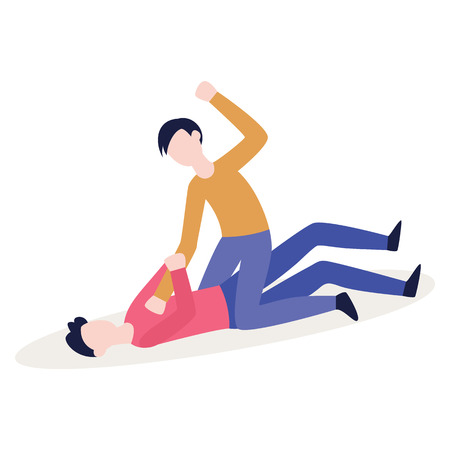 Two people fighting, angry bully beating up a person lying on the ground. Example of aggressive physical conflict between abuser and victim - flat characters vector illustration on white background. Illustration