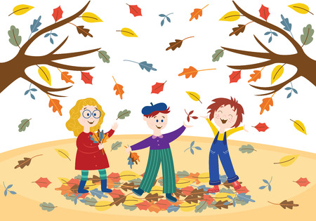 Cheerful children playing outdoors in autumn park or garden under falling colorful tree leaves in flat style - vector illustration of seasonal scene with happy laughing active kids.